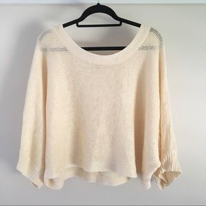 Slouchy Cropped Batwing Sleeved Cream Knit Sweater